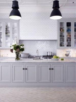 17 White Kitchen Designs Inpirations - Grey Kitchen with black industrial lights - designlibary.com.au