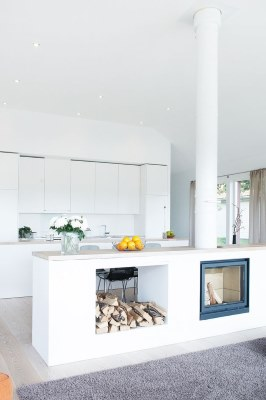 17 White Kitchen Designs Inpirations - Open plan with fire place built in | www.designlibrary.com.au