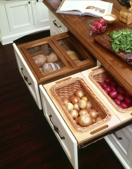 Kitchen Designs 17 Storage Solutions - Neat Drawer Storage for Onions Potatoes and Bread - www.designlibrary.com.au