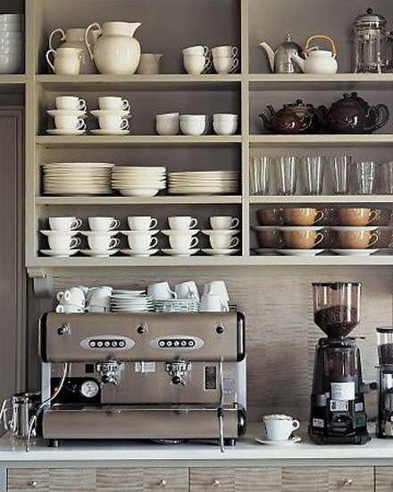 Kitchen Designs 17 Storage Solutions - Open cupboards over the coffee machine - www.designlibrary.com.au