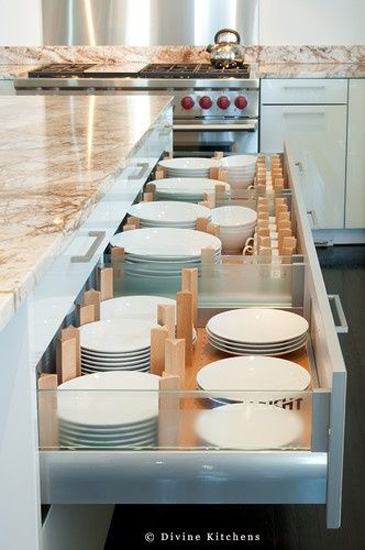 Kitchen Designs 17 Storage Solutions - Plates in a draw with dividers to keep in place - www.designlibrary.com.au