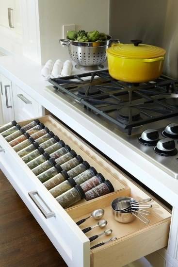 Kitchen Designs 17 Storage Solutions - Spice Rack placed in great easy location - - www.designlibrary.com.au