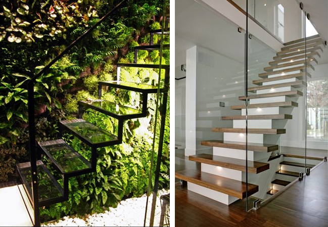 Open riser staircase with transparent treads & Floating Wooden Stairs with a White Base - The Ultimate Guide To Stairs Design - www.designlibrary.com.au