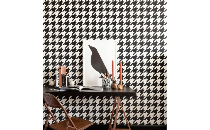 Within The Pages - DesignLibrary.com.au - Vision Wallcoverings - Houndstooth in black and white