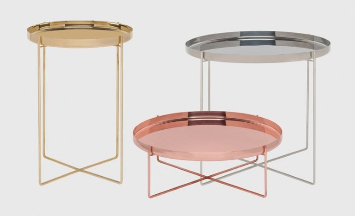 Habibi Tray Tables Brass Copper Stainless Steel - Living Edge - Within The Pages www.designlibrary.com.au